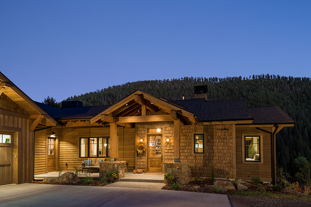 Entry At Dusk, A Family Getaway Built Into The Hillside, Brechbuhler Architects, Mountain Living Magazine