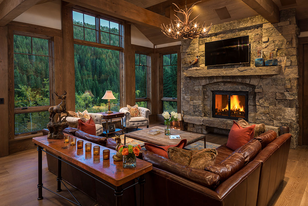 Fireplace, A Family Getaway Built Into The Hillside, Brechbuhler Architects, Mountain Living Magazine