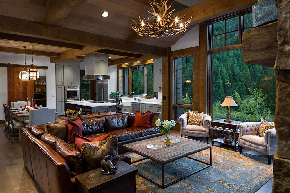 Great Room, A Family Getaway Built Into The Hillside, Brechbuhler Architects, Mountain Living Magazine