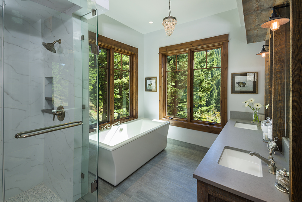 Master Bath, A Family Getaway Built Into The Hillside, Brechbuhler Architects, Mountain Living Magazine