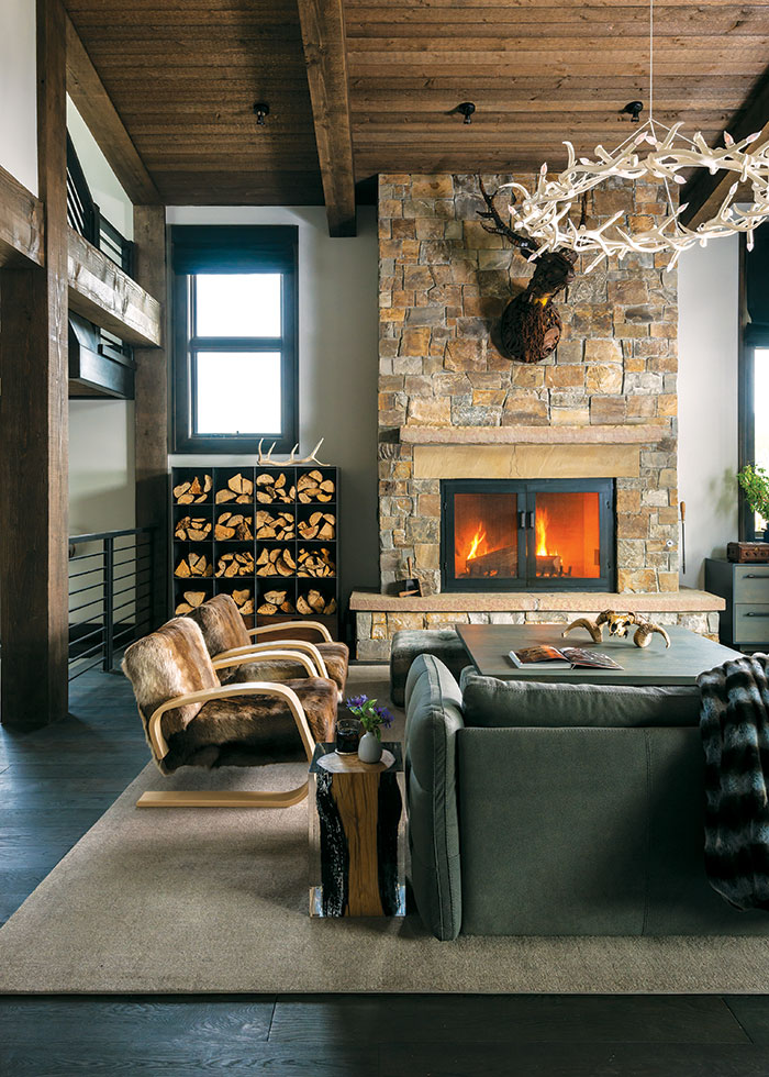 Stone Fireplace2c Cashmere And Leather Living Room2c A Mountain House With A Veterinarian Twist2c Brechbuhler Architects2c Urbaine Home2c Photo By Audrey Hall
