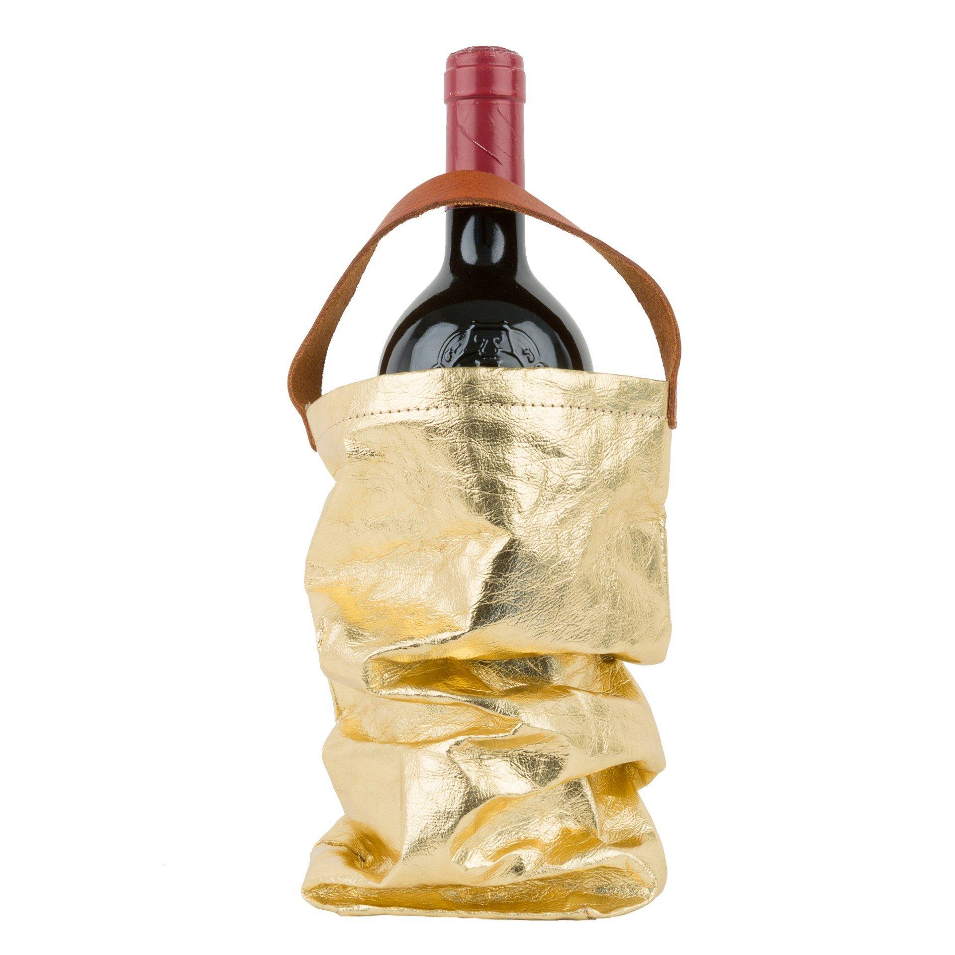 Wine Bag W Handle Gold