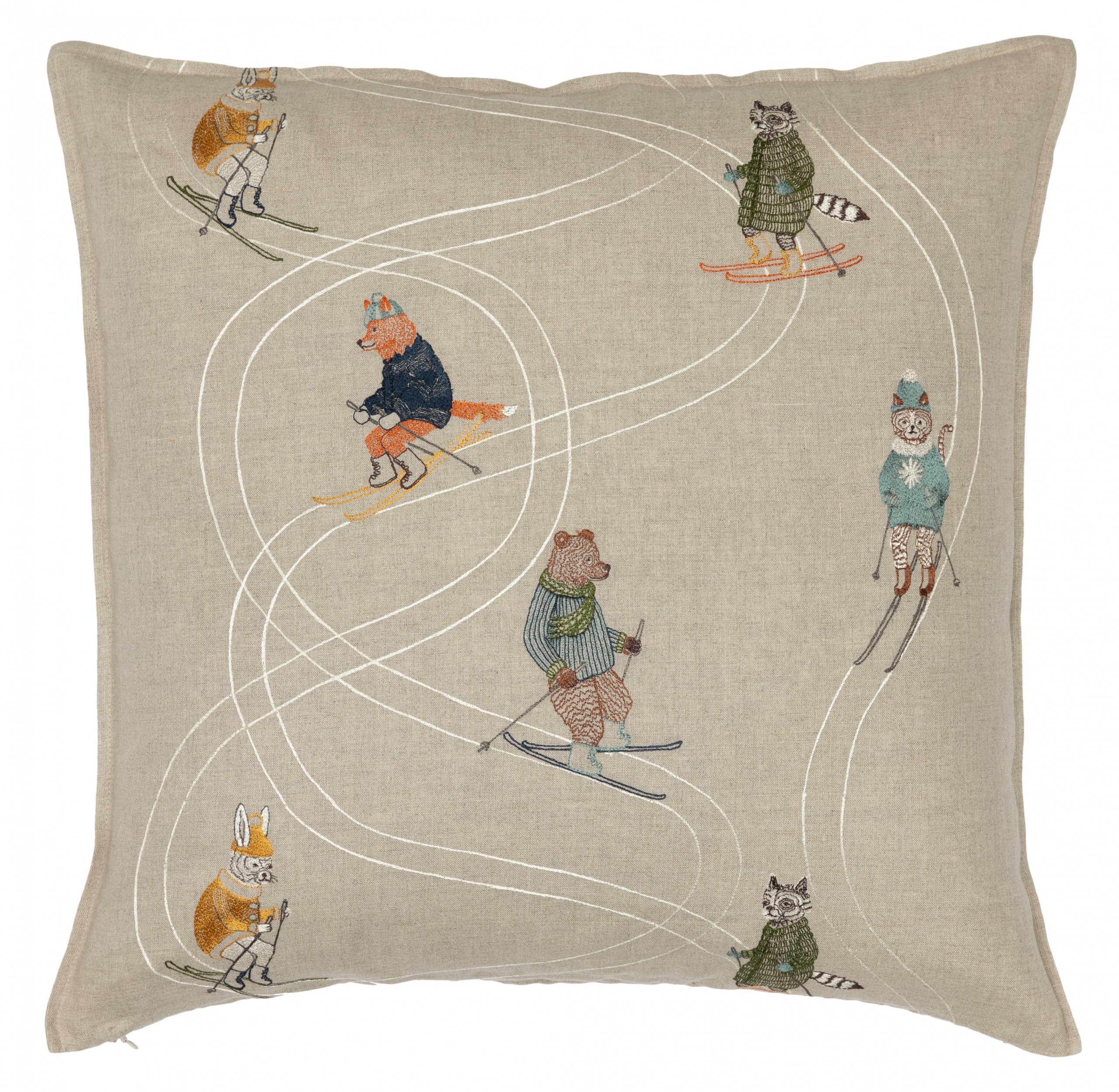 Coral And Tusk Downhill Skiers 20x20 Pillow