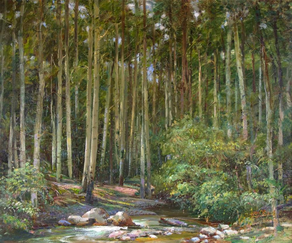 Berninghaus Oscar E 1874 1952 Green Aspens Oil On Canvas 20 X 24