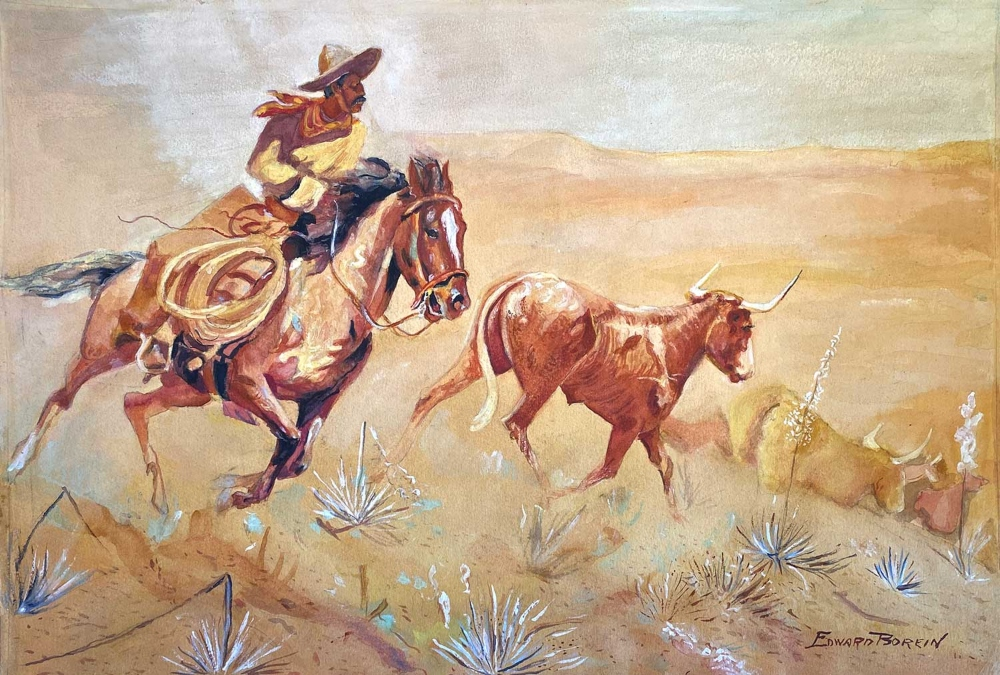 Borein Edward 1872 1945 Untitled Vaquero Watercolor And Gouache On Paper 135 X 19