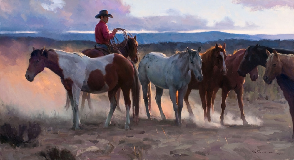 Browning Tom 1949 Fading Light Oil On Canvas 24 X 44
