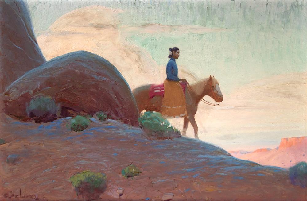 Delano Gerard Curtis 1890 1972 Navajo Rider Oil On Board 16 X 24