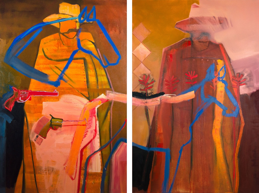 Liljestrom Connor 1995 The Twitty Brothers Diptych Oil And Mixed Media On Linen 72 X 48