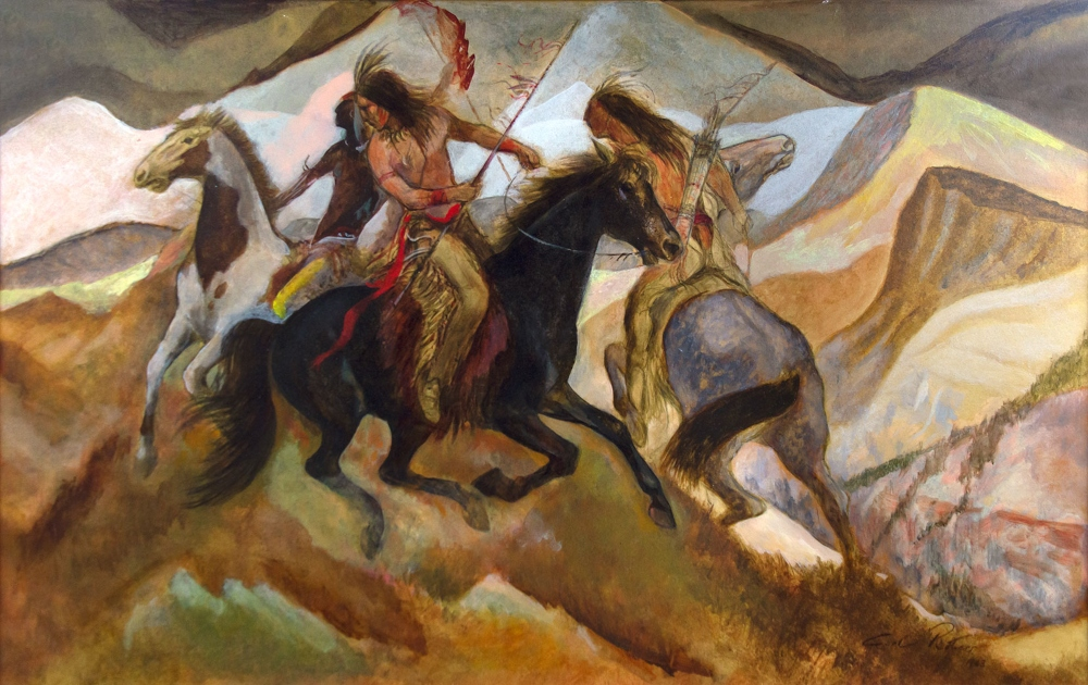 Roters Carl 1898 1989 On The War Path Polymer On Board 25 X 39