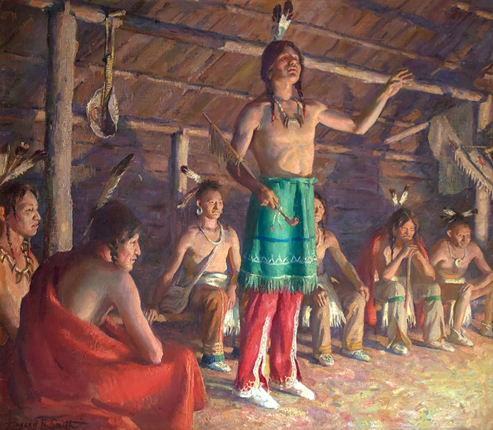 Smith Howard Everett 1885 1970 Council House Of The Iroquois Oil On Canvas 26 X 30