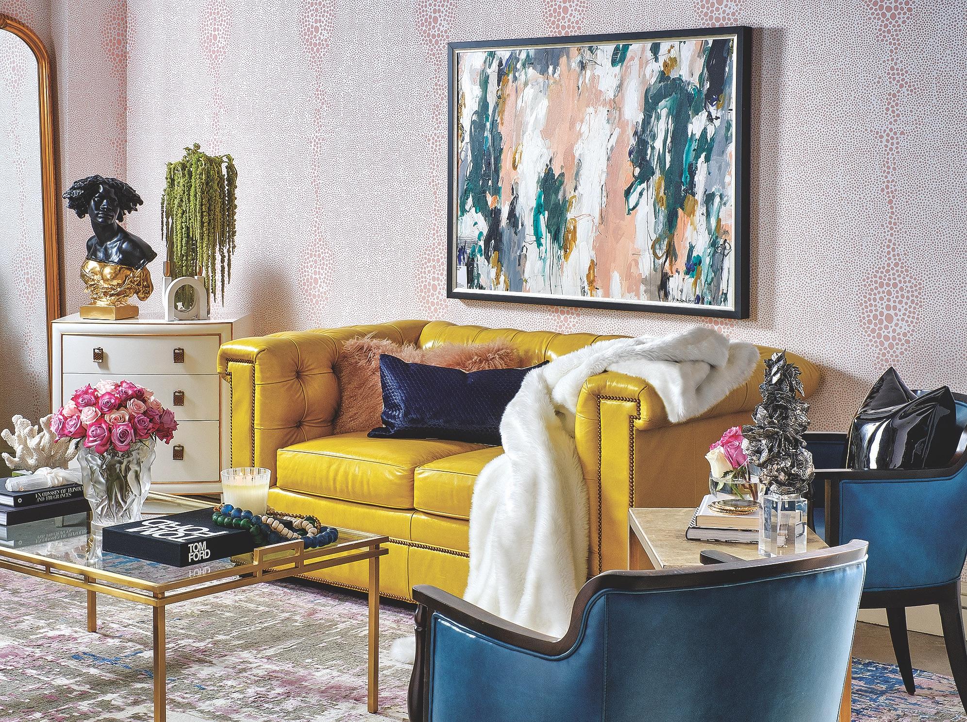Designer Yellow Couch