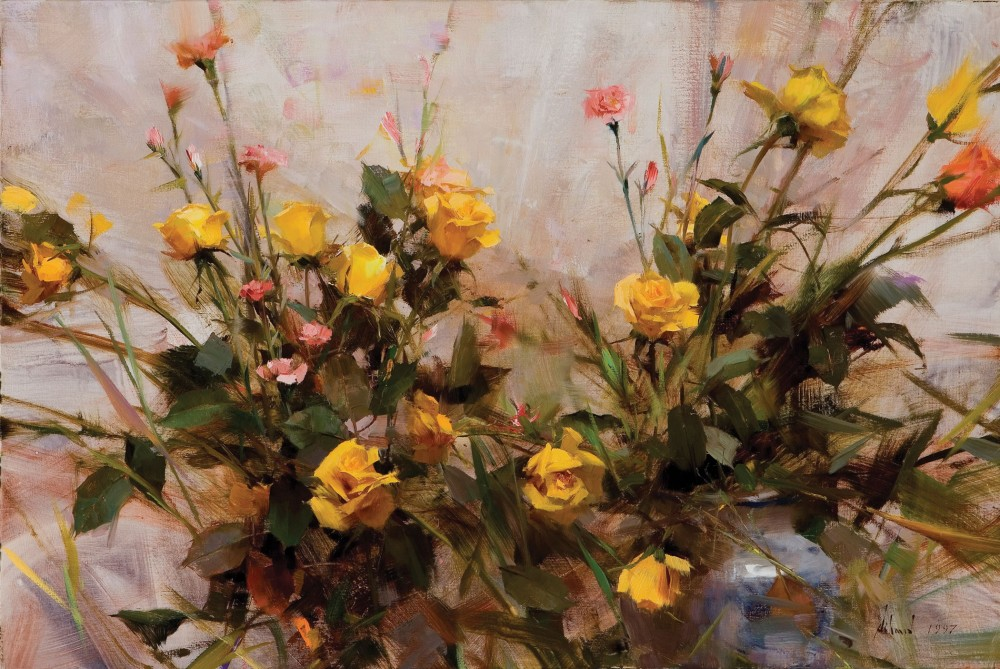 Schmid Richard 1934 Yellow Roses Oil On Canvas 20 X 30 Inches