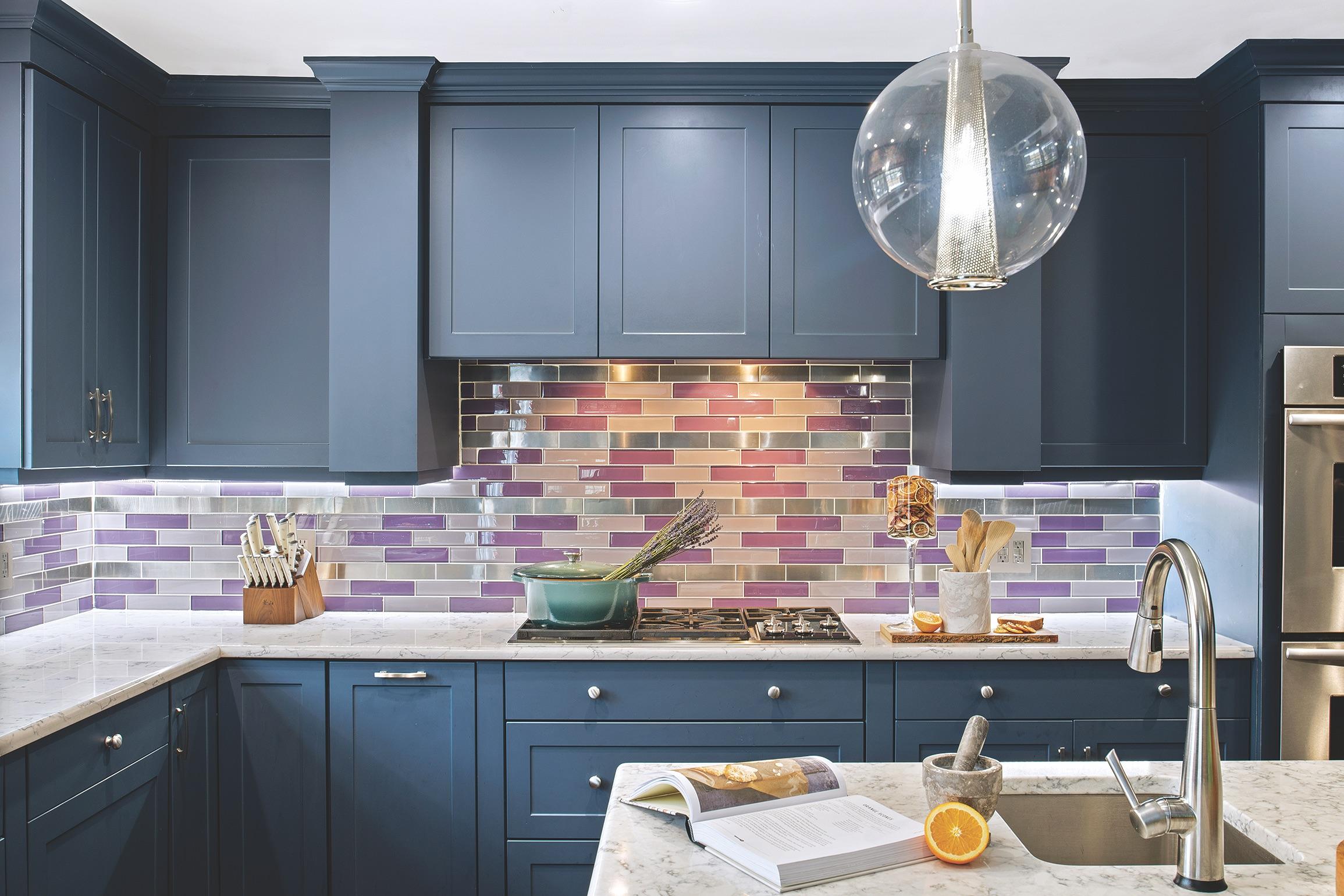 Designer Blue Kitchen Backsplash