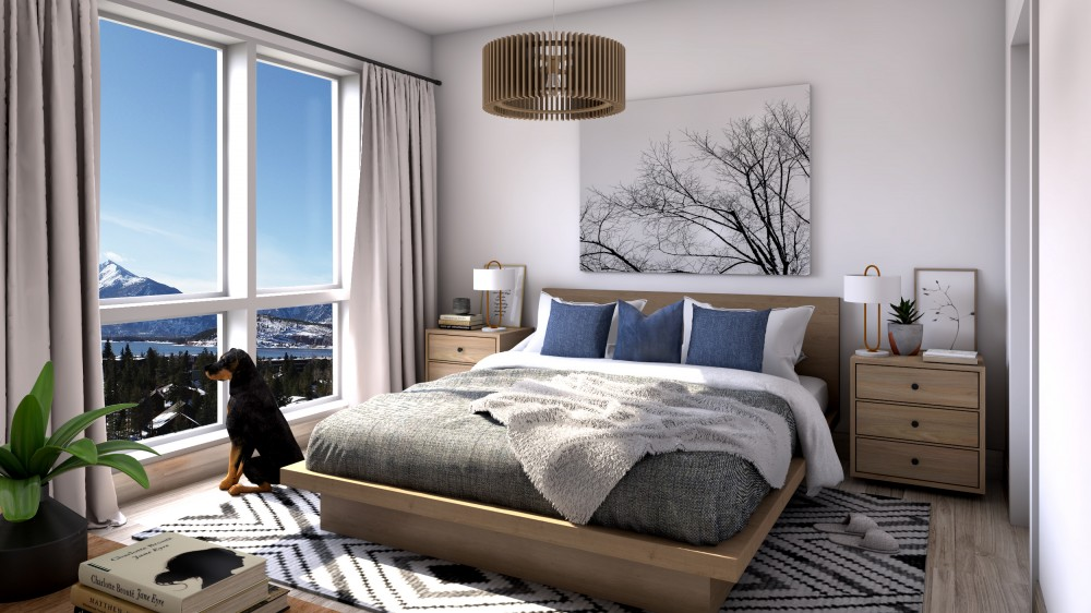 Unit 603 Bedroom With Town In Background