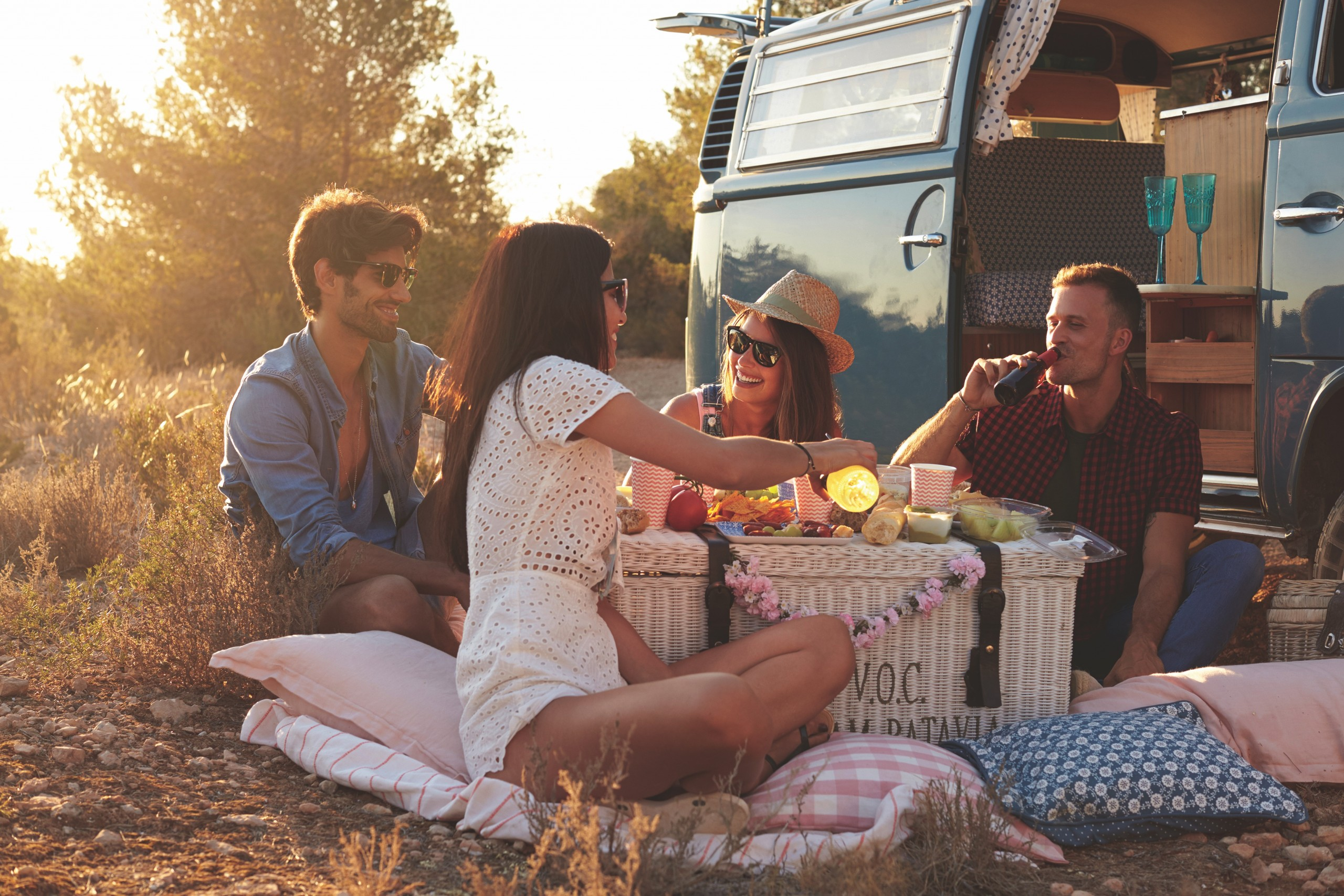 Friends,on,a,road,trip,having,a,picnic,beside,a