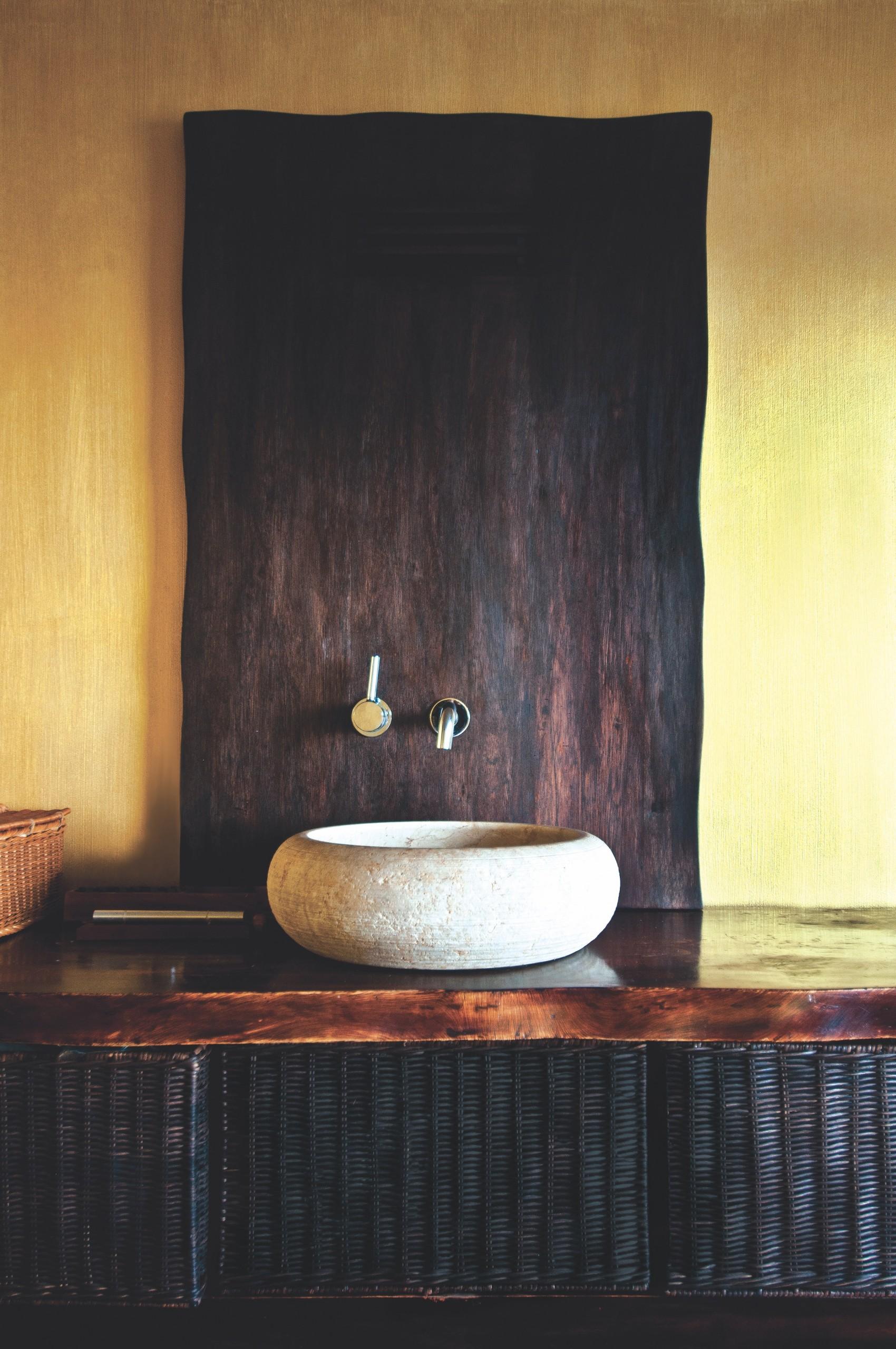 Modern,bathroom,interior,with,original,white,stone,sink,,clock,,wooden