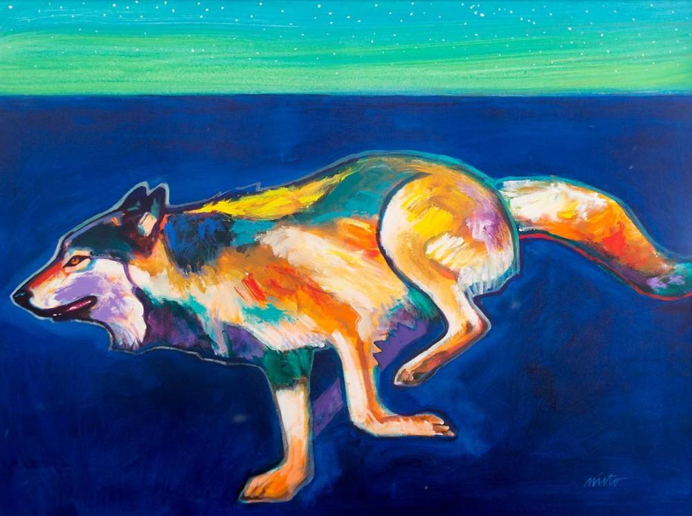Nieto John 1936 2018 Running Wolf 2011 Acrylic On Canvas 30 X 40