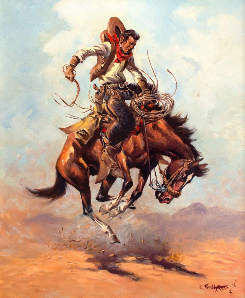 Harman Fred 1902 1982 The Bronc Oil On Canvas 24 X 20