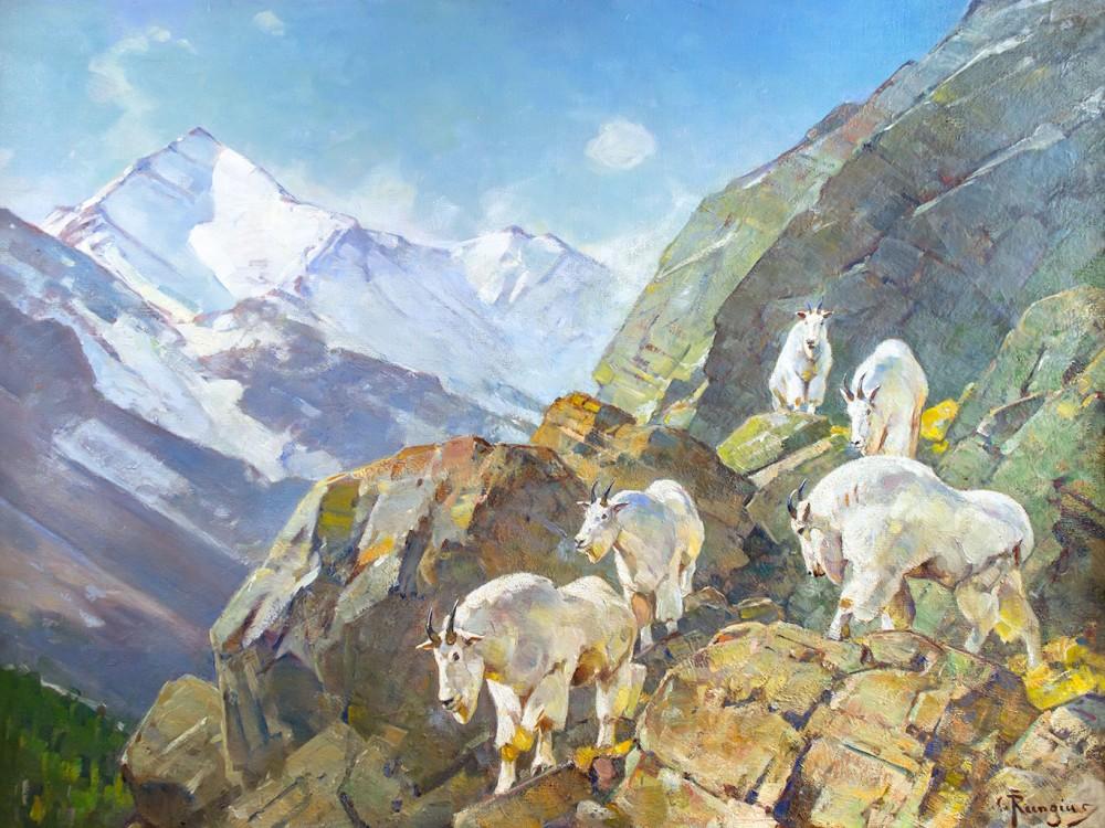 Rungius Carl 1869 1959 Above The Treeline Oil On Canvas 30 X 40 New