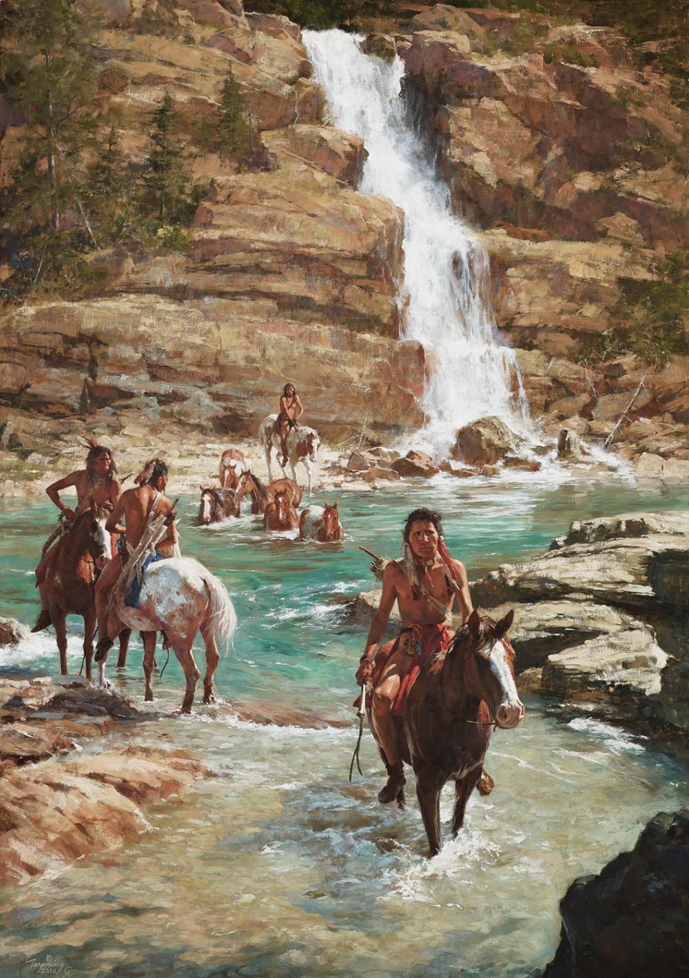 Terpning Howard 1927 Vanishing Pony Tracks Oil On Canvas 60 X 40
