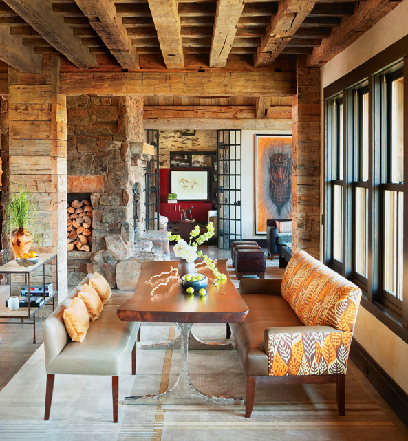 The reclaimed wood featured in the dining room of our 2011 Home of the Year, pictured above, is from Montana Reclaimed Lumber; photo by Gibeon Photography and design by Worth Interiors.