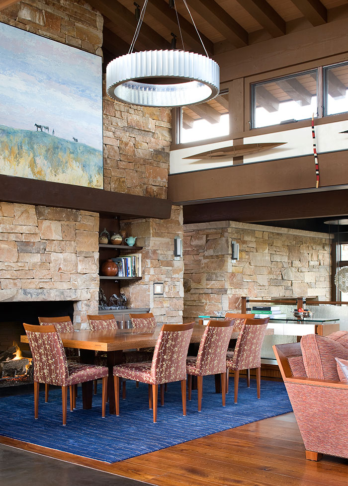 Dining room, An Equestrian's Dream Ranch in Basalt, Colorado, Shaeffer Hyde Construction, Mountain Living magazine