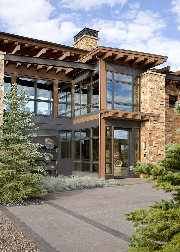 Entry front door, An Equestrian's Dream Ranch in Basalt, Colorado, Shaeffer Hyde Construction, Mountain Living magazine