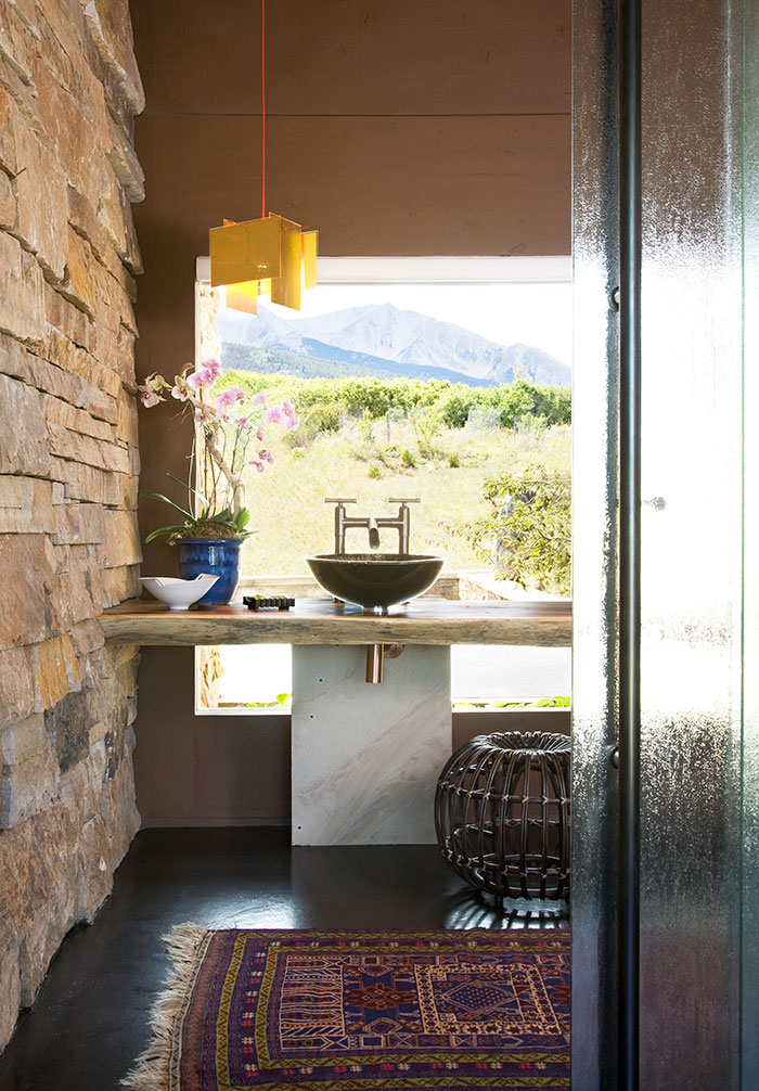Powder room, An Equestrian's Dream Ranch in Basalt, Colorado, Shaeffer Hyde Construction, Mountain Living magazine