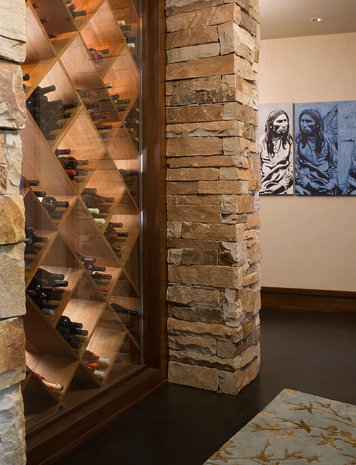 Wine display, An Equestrian's Dream Ranch in Basalt, Colorado, Shaeffer Hyde Construction, Mountain Living magazine
